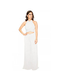 Sexy White Pure Color Decorated Off-the-shoulder Hollow Out Jumpsuits