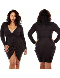 Sexy Black Long Sleeve Decorated Deep V Neckline Pure Color Package Buttocks Dress