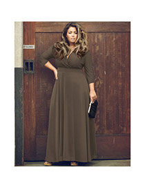Sexy Coffee Pure Color Decorated Deep V Neckline Three Quarter Sleeve Dress