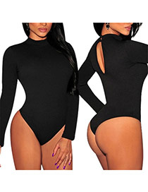 Sexy Black Pure Color Decorated O Neckline Long Sleeve Tight Jumpsuits