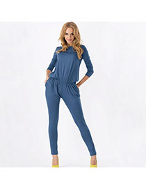 Casual Navy Blue Pure Color Decorated Long Sleeve Loose Fold Jumpsuits
