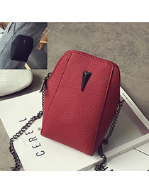 Cute Red Metal Triangle Decorated Geometric Shape Wallet