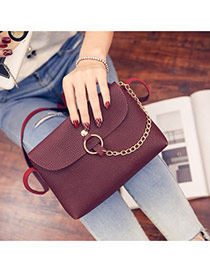 Sweet Clarted-red Metal Chain Decorated Simple Pure Color Shoulder Bag