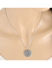 Fashion Silver Color Letter J&round Pendant Decorated Simple Necklace