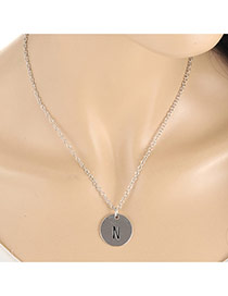 Fashion Silver Color Letter N&round Pendant Decorated Simple Necklace