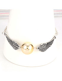 Fashion Silver Color Round Bead&wings Decorated Simple Chain Bracelet