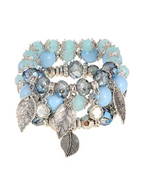 Elegant Blue Leaf Pendant Decorated Beads Weaving Multilayer Bracelet