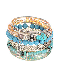 Vintage Blue Leaf Pendant&gemstone Decorated Multilayer Bracelet