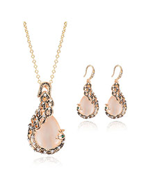 Elegant Gold Color Waterdrop Gemstone Pendant Decorated Simple Jewelry Sets