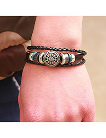 Fashion Black Hollow Out Round Shape Decorated Multi-layer Bracelet