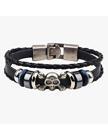 Trendy Black Skull Pattern Decorated Multi-layer Dermis Bracelet