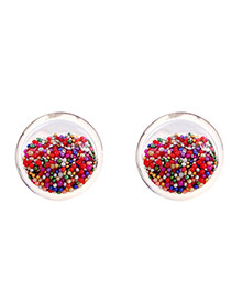Elegant Multi-color Bead Ball Decorated Transparent Simple Earrings
