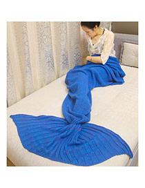 Fashion Sapphire Blue Pure Color Decorated Mermaid Shape Simple Blanket(large)