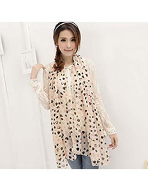Fashion Apricot Heart Shape Pattern Decorated Simple Scarf