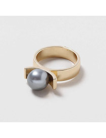 Trendy Gray Big Pearl Decorated Flower Buds Shape Simple Ring