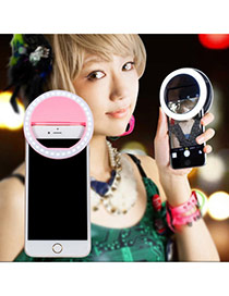 Trendy Pink Hollow Out Round Shape Design Simple Led Beauty Selfie Timer(without The Battery)