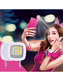 Trendy White Square Shape Design Simple Led Beauty Selfie Timer