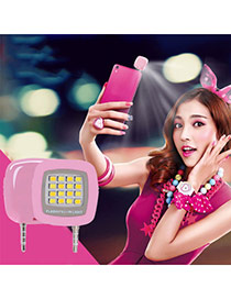 Trendy Pink Square Shape Design Simple Led Beauty Selfie Timer