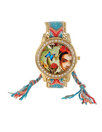 Sweet Blue+red Girl&butterfly Pattern Decorated Weaving Strap Simple Watch
