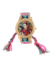 Lovely Plum Red+green Girl&monkey Pattern Decorated Weaving Strap Simple Watch