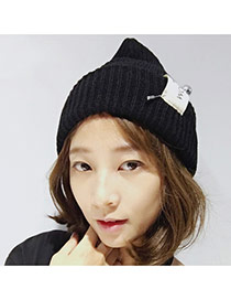 Fashion Black Pearl Decorated Pure Color Design Simple Knitting Hat