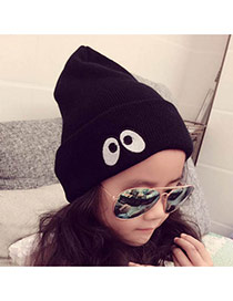 Fashion Black Eyes Pattern Decorated Pure Color Knitting Hat