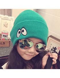 Fashion Green Eyes Pattern Decorated Pure Color Knitting Hat