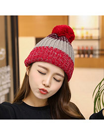 Elegant Red+brown Fuzz Ball Decorated Color Matching Knitting Hat