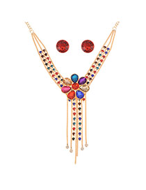 Elegant Multi-color Flower Shape Decorated Double Layer Tassel Jewelry Sets