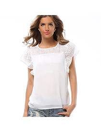 Fashion White Pure Color Design Lotus Leaf Sleeve Simple Lace Grid Blouse