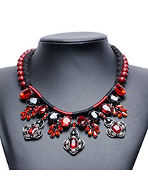 Trendy Red Geometric Gemstone&bead Decorated Short Chain Necklace
