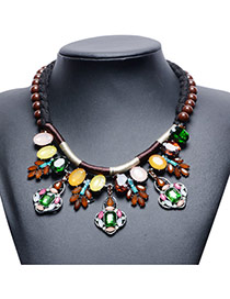Trendy Multi-color Geometric Gemstone&bead Decorated Short Chain Necklace