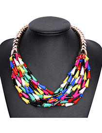 Fashion Multi-color Multi-layer Bead Decorated Short Chain Simple Necklace