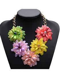 Fashion Multi-color Five Sunflowers Decorated Short Chain Simple Necklace