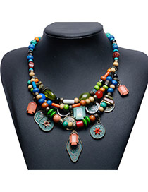 Trendy Multi-color Coin Pendant Decorated Multi-layer Bead Necklace