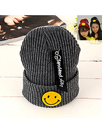 Lovely Gark Gray Smiling Face Shape Pattern Decorated Knitted Hat