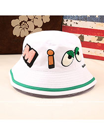 Fashion White Eyes&letter Pattern Decorated Bucket Hat