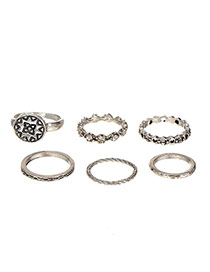 Vintage Silver Color Diamond Decorated Hollow Out Ring Sets (6pcs)