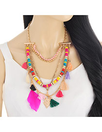 Fashion Multi-color Fuzzy Ball&tassel Decorated Simple Pom Necklace