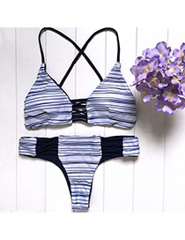 Fashion Dark Blue Color Matching Decoraetd Strap Of The Shoulder Bikini