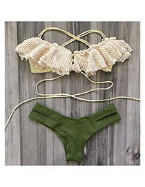 Lovely Beige Strap Of The Shoulder Design Simple Two-pieces Bikini
