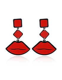 Fashion Red Lips Shape Pendant Decorated Simple Earrings 'hollow Out Decorated Triangle Earrings