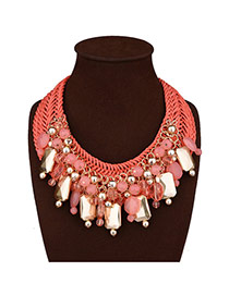Fashion Red Square Shape Decorated Hand-woven Simple Necklace