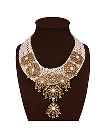 Vintage Gold Color Round Shape Pendant Decorated Hand-woven Necklace