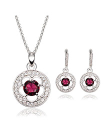 Elegant Silver Color Diamond Decorated Hollow Out Pendant Decorated Long Chain Jewelry Sets