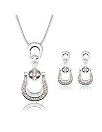 Delicate Silver Color Diamond Decorated Letter U Shape Pendant Decorated Jewelry Sets
