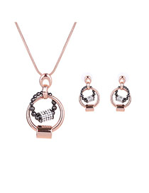 Delicate Rose Color Two Round Shape Pendant Decorated Long Chain Jewelry Sets