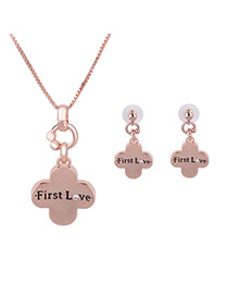 Lovely Rose Color Metal Clover Pendant Long Chian Jewelry Sets