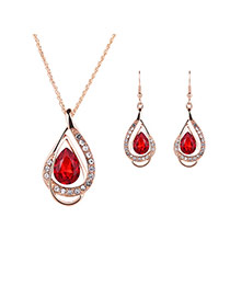 Elegant Red Oval Diamond Decorated Hollow Out Jewelry Sets