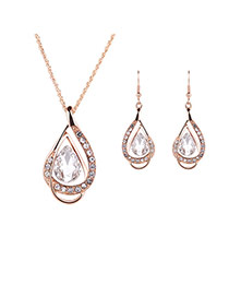 Elegant White Oval Diamond Decorated Hollow Out Jewelry Sets
